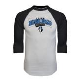 White/Black Raglan Baseball T-Shirt-Crossed Bats Baseball