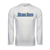 Syntrel Performance White Longsleeve Shirt-Blue Jays Wordmark
