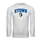 Performance White Longsleeve Shirt-ETOWN with Mascot