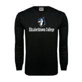 Black Long Sleeve TShirt-Elizabethtown College with Blue Jays Mascot
