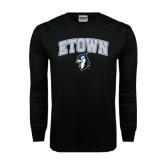 Black Long Sleeve TShirt-ETOWN with Mascot
