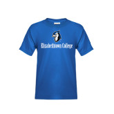 Youth Royal T Shirt-Elizabethtown College with Blue Jays Mascot