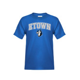 Youth Royal T Shirt-ETOWN with Mascot