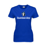Ladies Royal T Shirt-Elizabethtown College with Blue Jays Mascot