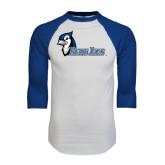 White/Royal Raglan Baseball T Shirt-Blue Jays