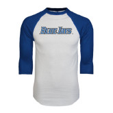 White/Royal Raglan Baseball T Shirt-Blue Jays Wordmark