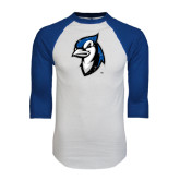 White/Royal Raglan Baseball T Shirt-Blue Jays Mascot Distressed