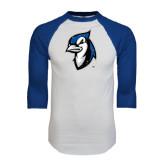 White/Royal Raglan Baseball T Shirt-Blue Jays Mascot Distressed