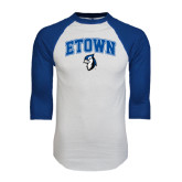 White/Royal Raglan Baseball T Shirt-ETOWN with Mascot