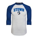 White/Royal Raglan Baseball T Shirt-ETOWN with Mascot