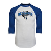White/Royal Raglan Baseball T Shirt-Crossed Bats Baseball