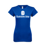 Next Level Ladies SoftStyle Junior Fitted Royal Tee-Elizabethtown College