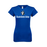 Next Level Ladies SoftStyle Junior Fitted Royal Tee-Elizabethtown College with Blue Jays Mascot