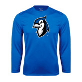 Performance Royal Longsleeve Shirt-Blue Jays Mascot