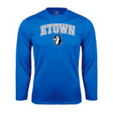 Performance Royal Longsleeve Shirt-ETOWN with Mascot