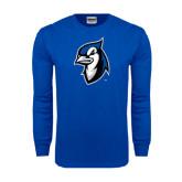 Royal Long Sleeve T Shirt-Blue Jays Mascot Distressed
