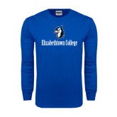 Royal Long Sleeve T Shirt-Elizabethtown College with Blue Jays Mascot