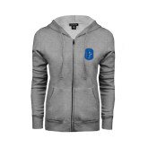 ENZA Ladies Grey Fleece Full Zip Hoodie-Official Logo