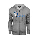 ENZA Ladies Grey Fleece Full Zip Hoodie-Blue Jays