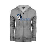ENZA Ladies Grey Fleece Full Zip Hoodie-Blue Jays