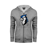 ENZA Ladies Grey Fleece Full Zip Hoodie-Blue Jays Mascot