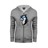ENZA Ladies Grey Fleece Full Zip Hoodie-Blue Jays Mascot