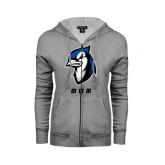 ENZA Ladies Grey Fleece Full Zip Hoodie-Mom