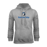 Grey Fleece Hoodie-Elizabethtown College with Blue Jays Mascot