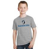 Youth Grey T-Shirt-Elizabethtown College with Blue Jays Mascot