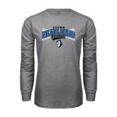 Grey Long Sleeve T Shirt-Crossed Bats Baseball