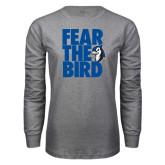 Grey Long Sleeve T Shirt-Fear the Bird