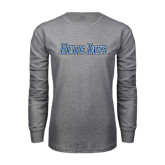 Grey Long Sleeve T Shirt-Blue Jays Wordmark