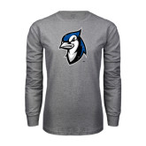 Grey Long Sleeve T Shirt-Blue Jays Mascot Distressed