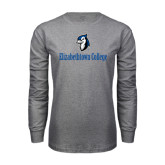 Grey Long Sleeve T Shirt-Elizabethtown College with Blue Jays Mascot