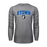 Grey Long Sleeve T Shirt-ETOWN with Mascot