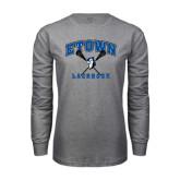 Grey Long Sleeve T Shirt-Crossed Sticks Lacrosse