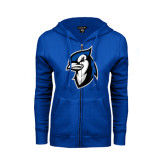 ENZA Ladies Royal Fleece Full Zip Hoodie-Blue Jays Mascot