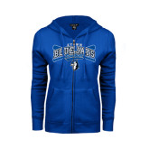 ENZA Ladies Royal Fleece Full Zip Hoodie-Crossed Bats Baseball