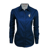 Ladies Navy Twill Button Down Long Sleeve-Blue Jays Mascot