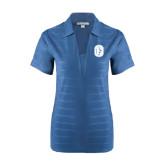 Ladies Indigo Blue Horizontal Textured Polo-Official Logo