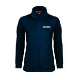 Ladies Fleece Full Zip Navy Jacket-Blue Jays Wordmark