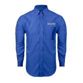 Mens Royal Oxford Long Sleeve Shirt-Blue Jays Wordmark