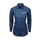 Ladies Deep Blue Tonal Pattern Long Sleeve Shirt-Blue Jays Wordmark