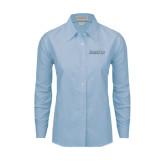 Ladies Light Blue Oxford Shirt-Blue Jays Wordmark