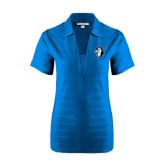 Ladies Sapphire Horizontal Textured Polo-Blue Jays Mascot