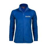 Ladies Fleece Full Zip Royal Jacket-Blue Jays Wordmark