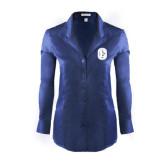 Ladies Red House Deep Blue Herringbone Non Iron Long Sleeve Shirt-Official Logo