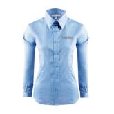Ladies Red House Light Blue Long Sleeve Shirt-Blue Jays Wordmark