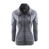 Ladies Sport Wick Stretch Full Zip Charcoal Jacket-Blue Jays Mascot