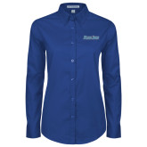 Ladies Royal Twill Button Down Long Sleeve-Blue Jays Wordmark